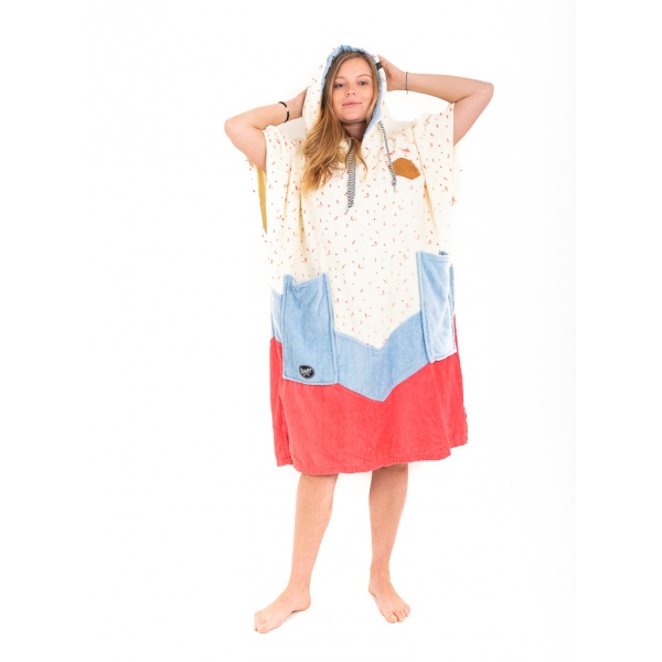 V Poncho ALL-IN Bumpy Line Femme